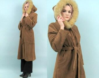 70s Long Suede Hooded Coat, Vintage Brown Leather, Lambs Fur Trim, Fleece Lined, Size Medium, Heavy, Warm Winter Coat, Berman's Leather
