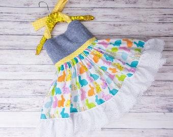 Easter Bunny Halter Dress- pastel Easter bunnies, girls Easter outfit, Easter dress