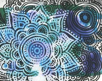 Mandala Blues 5x7 art print