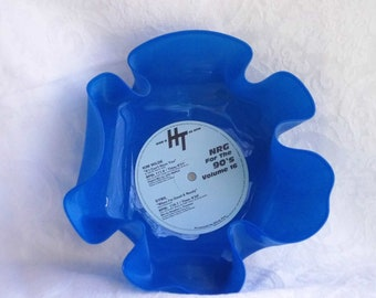Blue Colored Vinyl Record Bowl