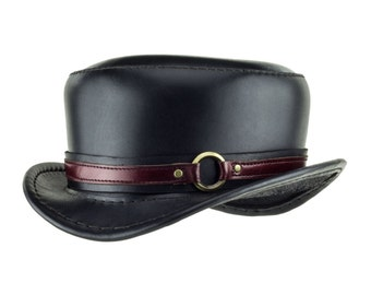 """Leather Hat """"Pinkerton"""" Black Tophat - Steampunk Top Hat - Top-stitched - Short Top Hat -Kink - Red Ring Band - Circus Couture - Burning Man"""