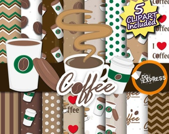 "SALE Coffee Clipart + Digital Paper : ""Coffee Paper""- Coffee Clipart, Coffee Birthday Invitation, Printable, Coffee Bean Paper, Coffee Cup"