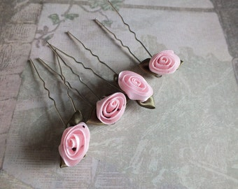 Bridal Hair Accessory Vintage Stock Satin Rose Buds Wedding Veil Alternative for Bridesmaids or Prom