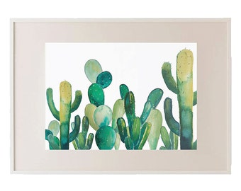 Bunch of Pricks // Watercolour Cactus Print // Cacti // Succulents // Plants // Wall Art