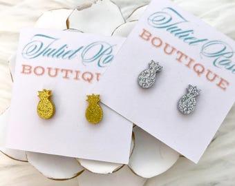 Pineapple Earrings, Pineapple Stud Earrings, Gold Pineapple Earrings, Silver Pineapple Earrings, Pineapple Gifts, Glitter Pineapple Earrings