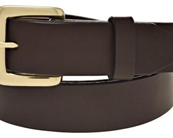 """Genuine Leather 1-1/4"""" Casual Dark Brown Belt. Handmade in the hills of Virginia (#4530)"""