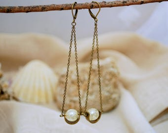 Extra long chain earrings, big beads jewelry, unique design, Lightweight and darling earrings, comfortable nice and delicate jewelry