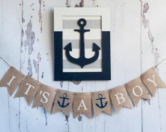 It's A Boy Banner, Nautical Banner, Nautical Baby Shower Banner, Nautical Boy Banner, Anchor Banner, B148