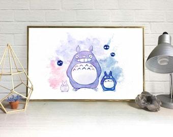Totoro Watercolor Print