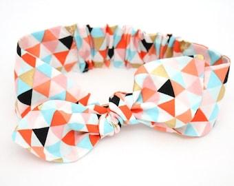 Orange Triangle headband, Womens Headband, Adult Headband, Headband for Women, Girl Headband, Bow Headband, Girl, Women, Headband, Gold