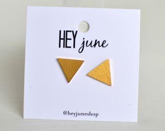 triangle stud earrings, triangle stud earrings, gold triangle earrings, silver triangle earrings, minimalist earrings,