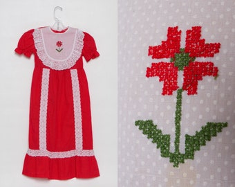 vintage 1970s girl's dress | red swiss dot maxi | cross stitch flower