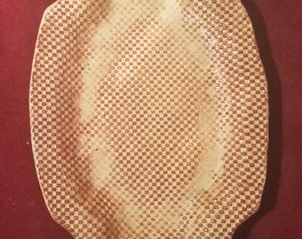 Handmade Textured Ceramic Cinnamon & Cream Tray