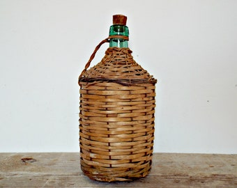 FRENCH WOVEN BOTTLE big wine bottle water carafe bottle vase French decor country life decor farmhouse style wicker wrapped wine bottles