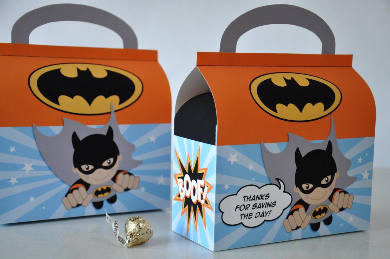 Flying Super Hero Batman favor box for birthday party