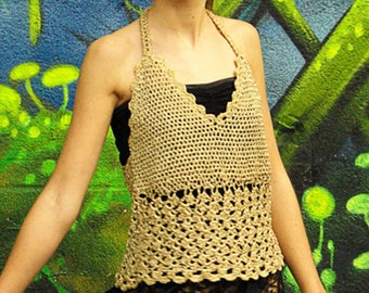 Backless gold crocheted lurex, knit woman gold, party top, christmas, new year's eve