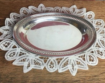 Vintage Oval Silver on Copper Plate Tray Catch All F. B. Rogers Silver Co.