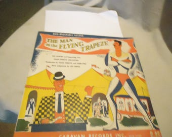 Vintage 1950 The Man On The Flying Trapeze C-25 Record By Caravan Records, Hugh Perette Orchestra,  collectable