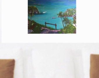 Original Acrylic Painting, Bermuda, Realism, Wall art, Fine art, Bermuda Painting, Home Decor,  Acrylic Painting, Bermuda, Anniversary Gift