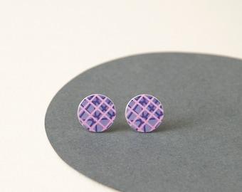 Magenta earrings - Pink Stud Earrings - Abstract Magenta jewellery