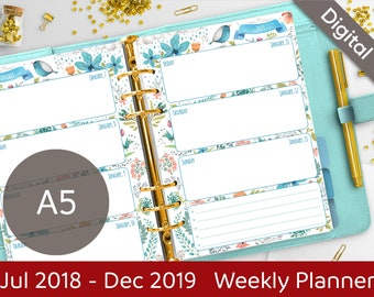 A5 2018-2019 Weekly Planner Printable, Wo2P Printable Refills, Filofax A5 Inserts, Dated planner, Arinne Blue Bird, PDF Instant Download