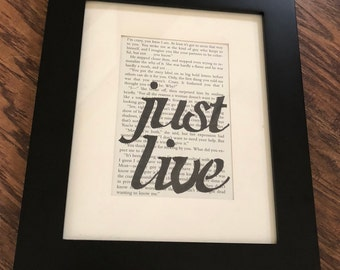 Recycled Book Art 'just live'