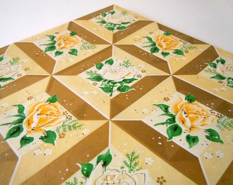 1960s All Occasions Wrapping Paper Yellow Gold Rose Flower Gift Wrap