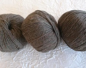 organic wool 100% pure new wool - getting-Brown Pearl. 50 g.