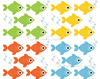 Fish Wall Decals, school of fish, under the sea decals, goldfish decals, fish stickers, nursery wall decals, vinyl fish decor, kids room