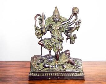 Vintage Bronze Kali Sculpture Hindu Dark Goddess Statue Indian Metal Figurine