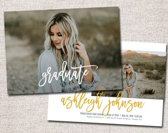 Graduation Announcement, Graduation Invitation, Photo Graduation Announcement, Printable Graduation Announcement: PRINTABLE  |  Ashleigh