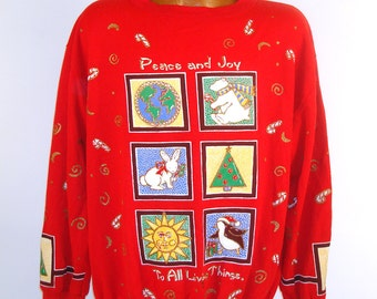 Ugly Christmas Sweater Vintage Sweatshirt Peace to all Living Things Tacky Holiday