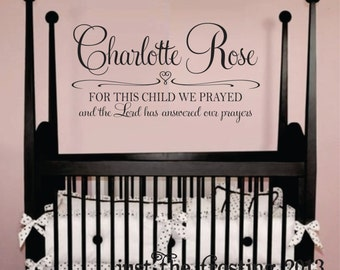 Samuel 1:27 Personalized Childrens Decor Monogram Decal- Vinyl Wall Lettering Decal -Vinyl Decal - Nursery Wall Decal
