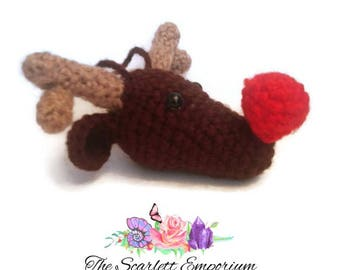 Handmade Amigurumi Crochet Rudolf Reindeer Stuffed Animal Christmas Tree Decoration