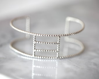 READY TO SHIP. Square .silver beaded bracelet. Sterling  silver cuff