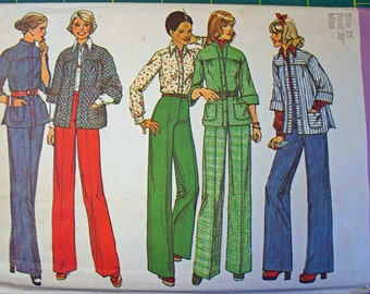 FREE SHIPPING on all patterns when you buy 3 or more - Vintage Simplicity pattern Miss size 16 Shirt Jacket, Top Pants 1974