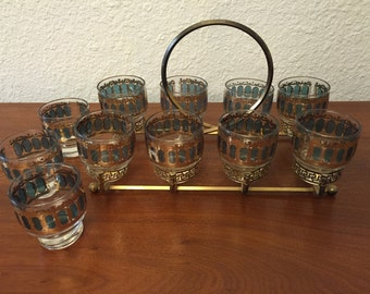 Set of 9 Mid Century Modern Barware Vintage Tumblers with Holder