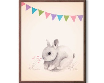 Kids Room Decor, Girls Bedroom Wall Art, Baby Girl Nursery Art, Rabbit Nursery Art, Rabbit Wall Art for Baby Girl, R204