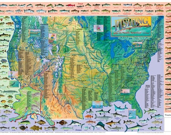 Dinosaurs of the world wall map poster game fish of north america wall map poster gumiabroncs Images