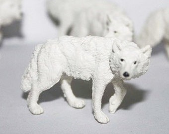 Miniature Arctic Wolf Terrarium Figurine, Tiny White Wolves, Winter Animal, Snow Globe Mini Toy