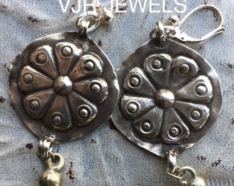 Silver earrings with Asian silver costume decorations