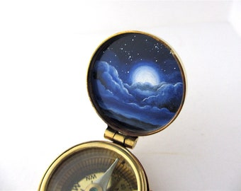 Full Moon Hand-Painted Pocket Compass, Brass Compass with Tarnish Markings on Sale