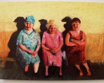 Folk art /   Sharing our secrets / Print - blue red yellow green pink orange Colors