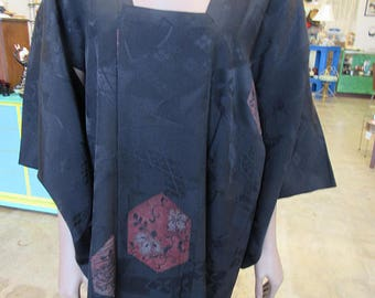 Japanese Black and Red Silk Kimono