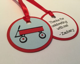 Red Wagon Party Favor Tags