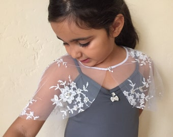 Capelet kids First Communion girls lace bolero Dress Tulle Cape Bridal Flower Girl Wrap Capelet Shrug Bolero in Embroidered Beaded Rhineston