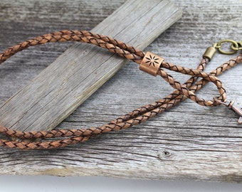 Rustic Leather Lanyard, ID Badge Lanyard, Leather ID Holder,Leather Badge Holder,Brown Leather ID Badge Lanyard, Id Key Lanyard, Key Lanyard