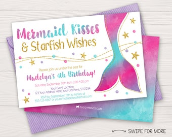 Mermaid Birthday Invitation | Under the Sea Birthday Invitations | Hot Pink, Purple, Aqua & Gold Watercolor | Personalized and Printable