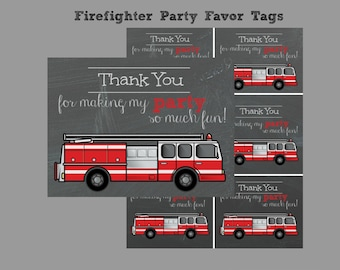 Firefighter Birthday Party Favor Tags