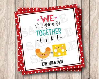 Personalized Printable We Go Together Like Tags, Printable Macaroni & Cheese Valentine Tags